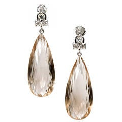 5.61 Carat Briolette Smoky Quartz Diamond Gold Dangle Earrings