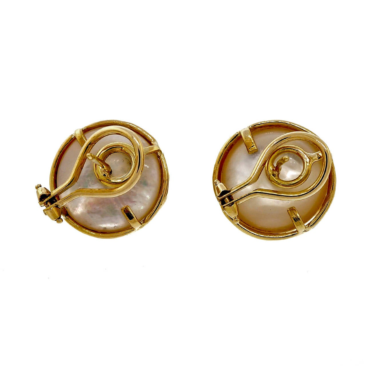 mabe pearl yellow gold earrings at 1stdibs