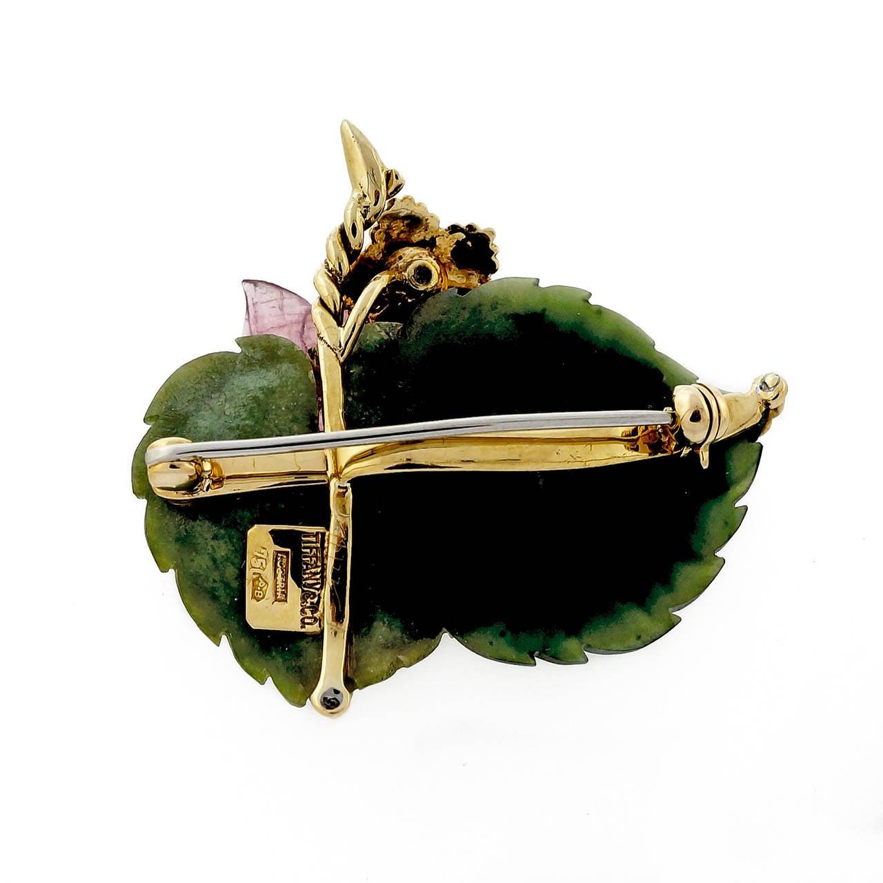 Tiffany & Co. Jade Tourmaline Ruby Diamond Gold Leaf Pin 3