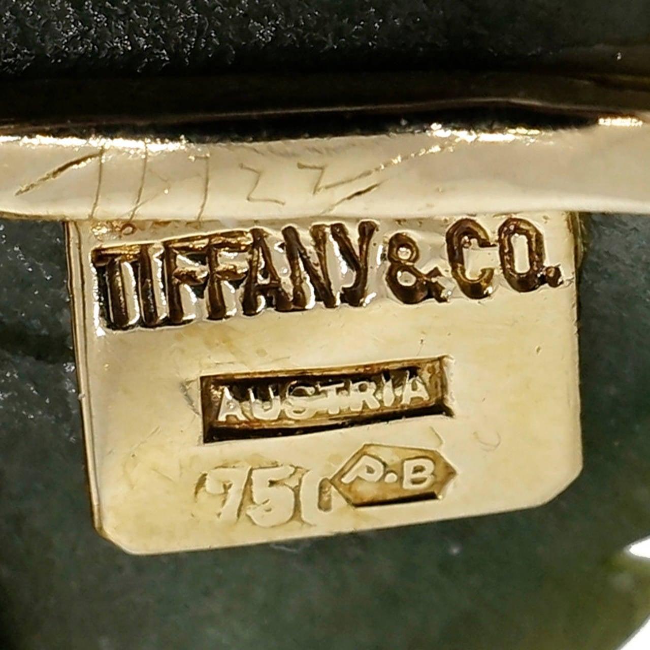 Tiffany & Co. Jade Tourmaline Ruby Diamond Gold Leaf Pin 4