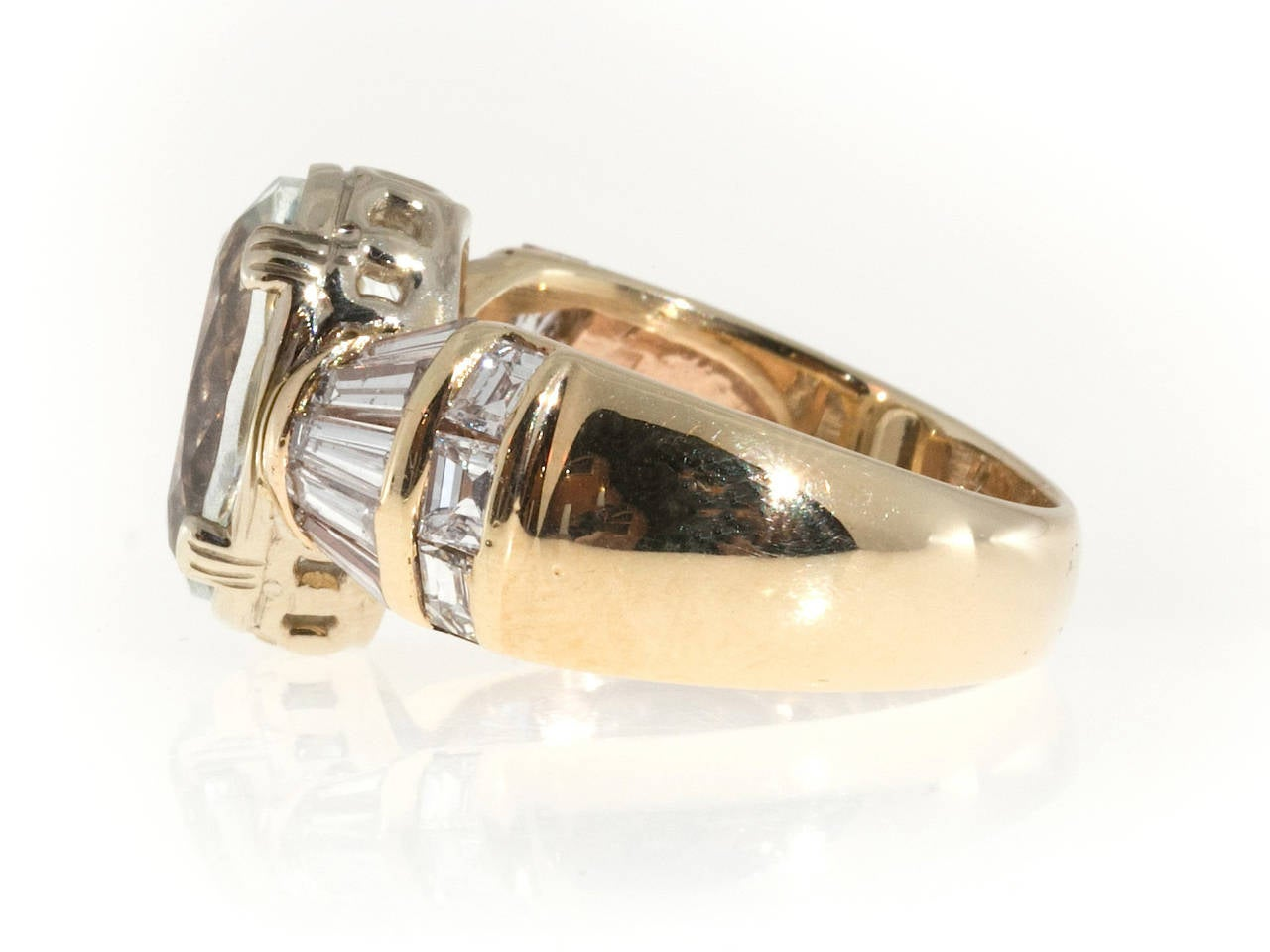 Modern Clear Pale Blue Aquamarine Diamond Gold Tapered Baguette Ring For Sale