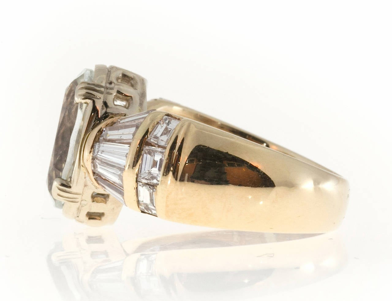 Women's Clear Pale Blue Aquamarine Diamond Gold Tapered Baguette Ring For Sale