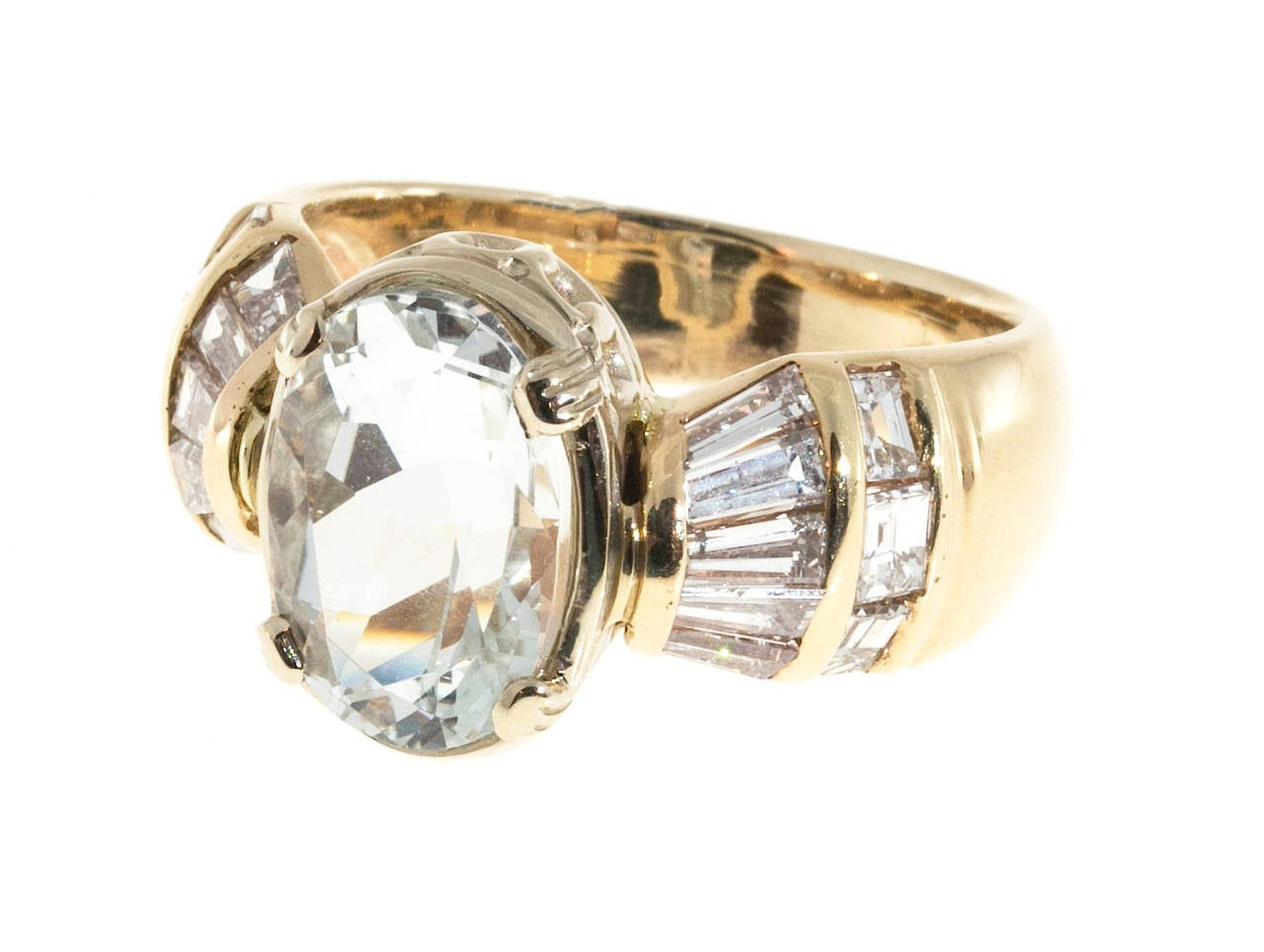 Clear Pale Blue Aquamarine Diamond Gold Tapered Baguette Ring For Sale 2
