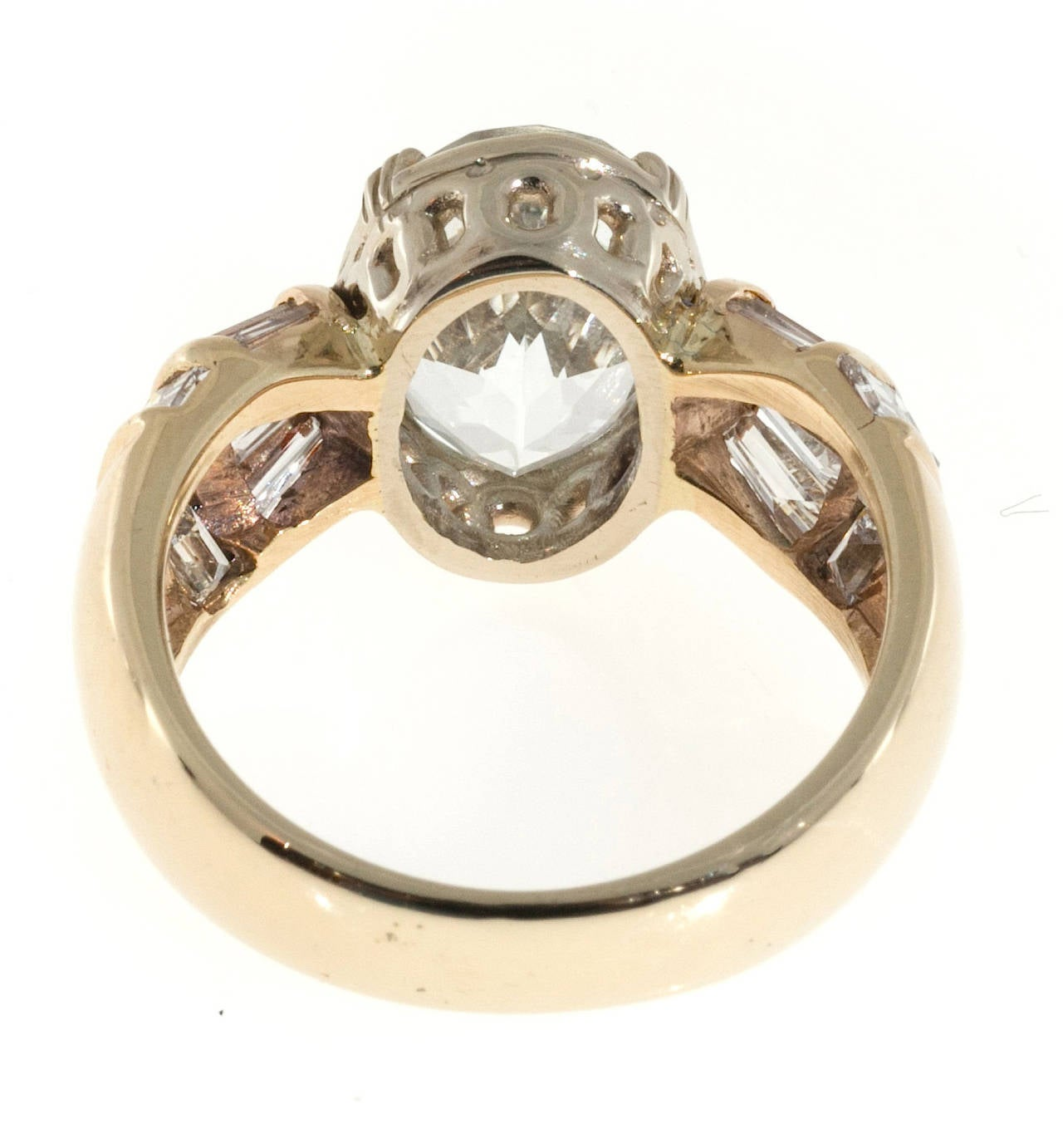 Clear Pale Blue Aquamarine Diamond Gold Tapered Baguette Ring For Sale 3