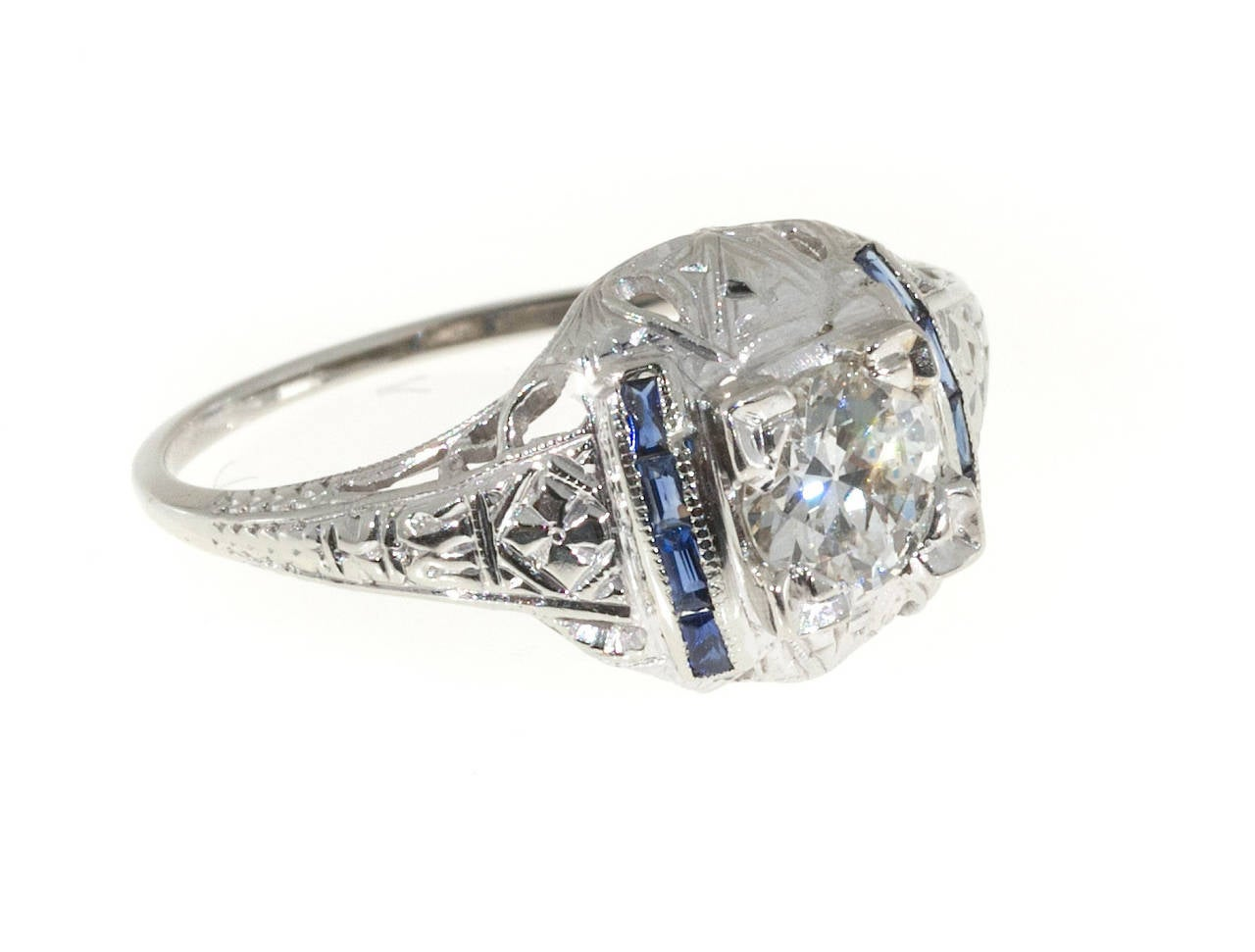 deco and sapphire domed engraved filigree