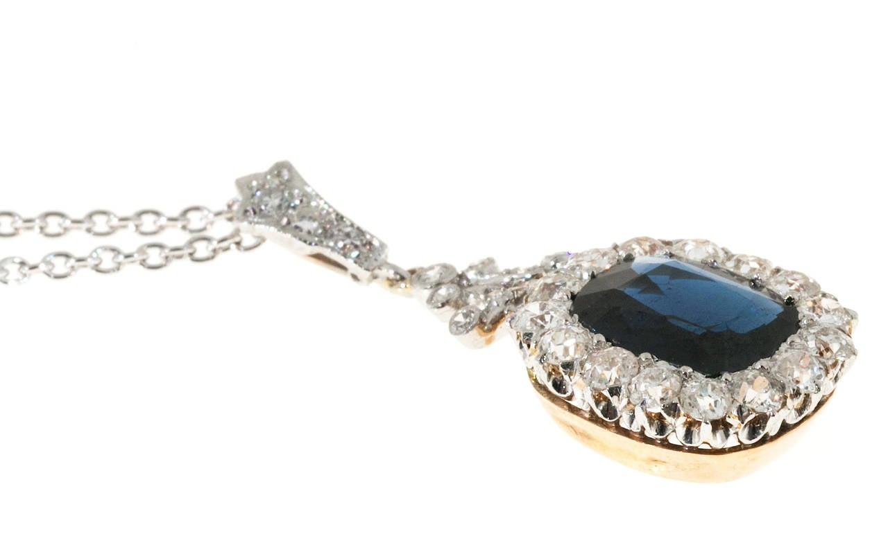 Victorian Natural No Heat Cushion Sapphire Diamond Platinum Necklace 5