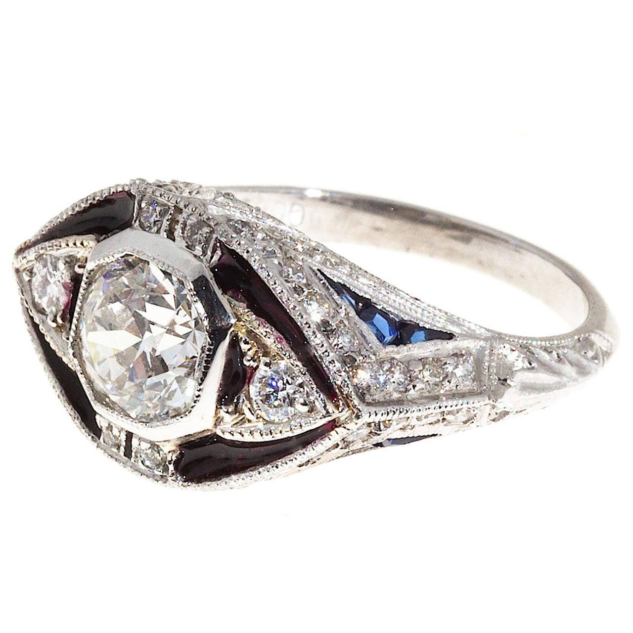 Blue Diamond Platinum: Blue Enamel Sapphire Diamond Platinum Ring For Sale At 1stdibs