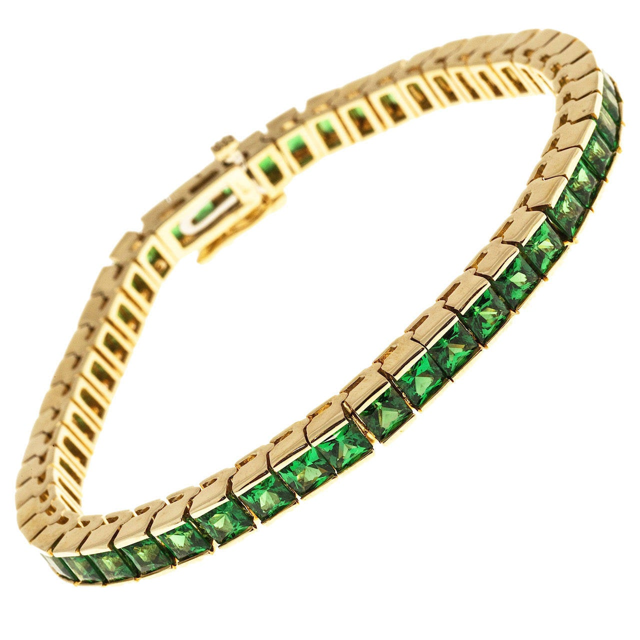 Gem Green Tsavorite Garnet Gold Bracelet At 1stdibs