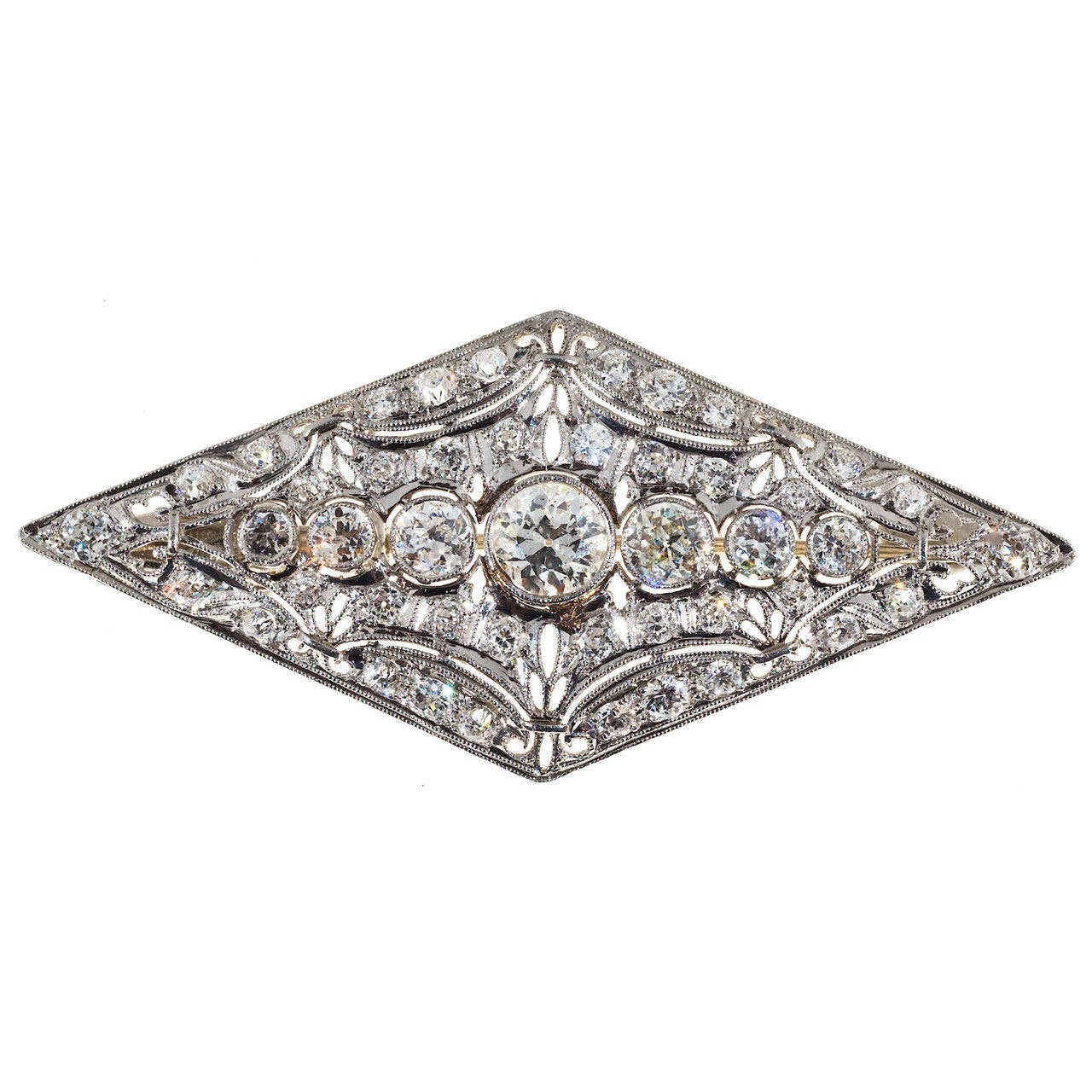 Art deco old european diamond platinum pin for sale at 1stdibs for European art deco