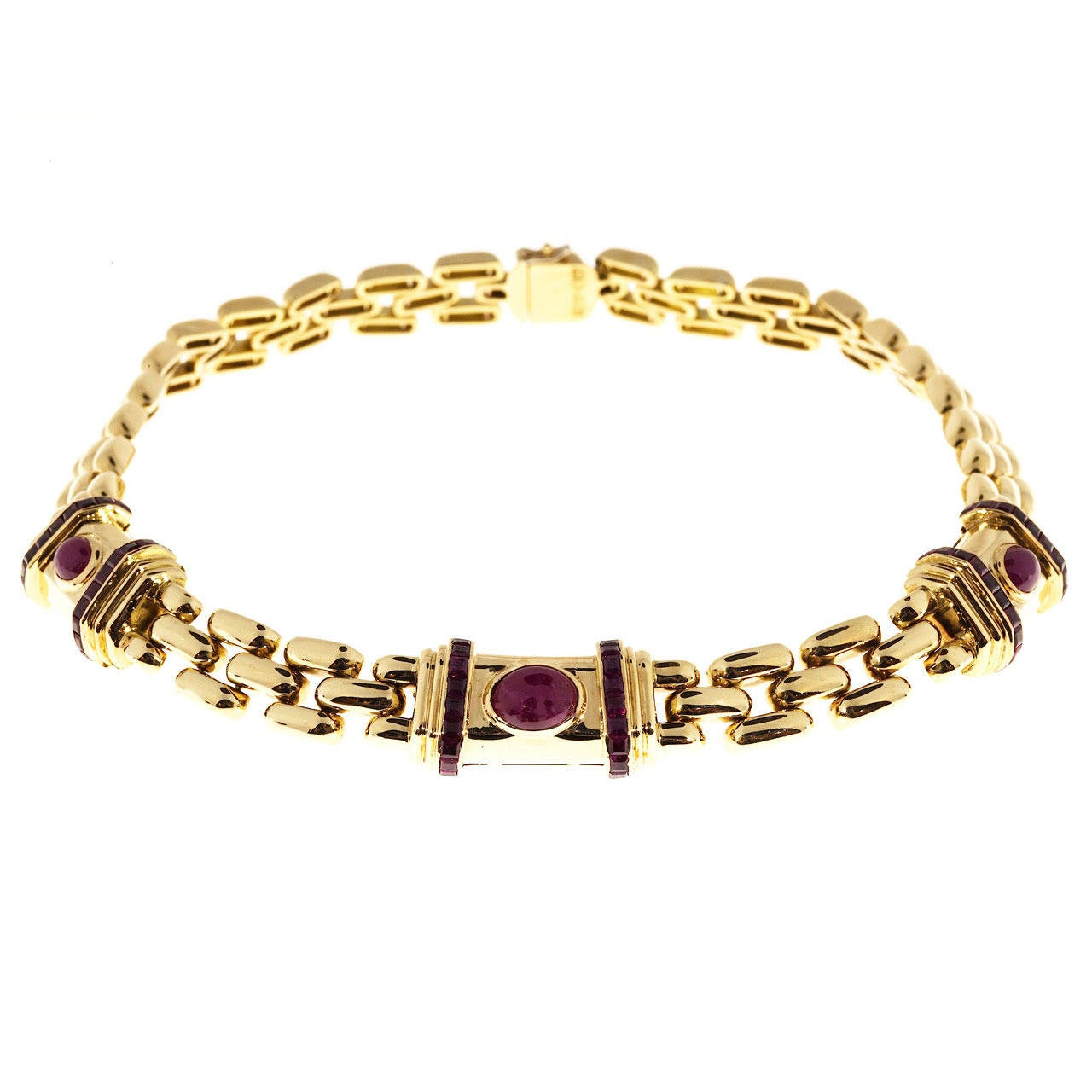 Italian Cabochon Ruby Gold Three Row Link Necklace