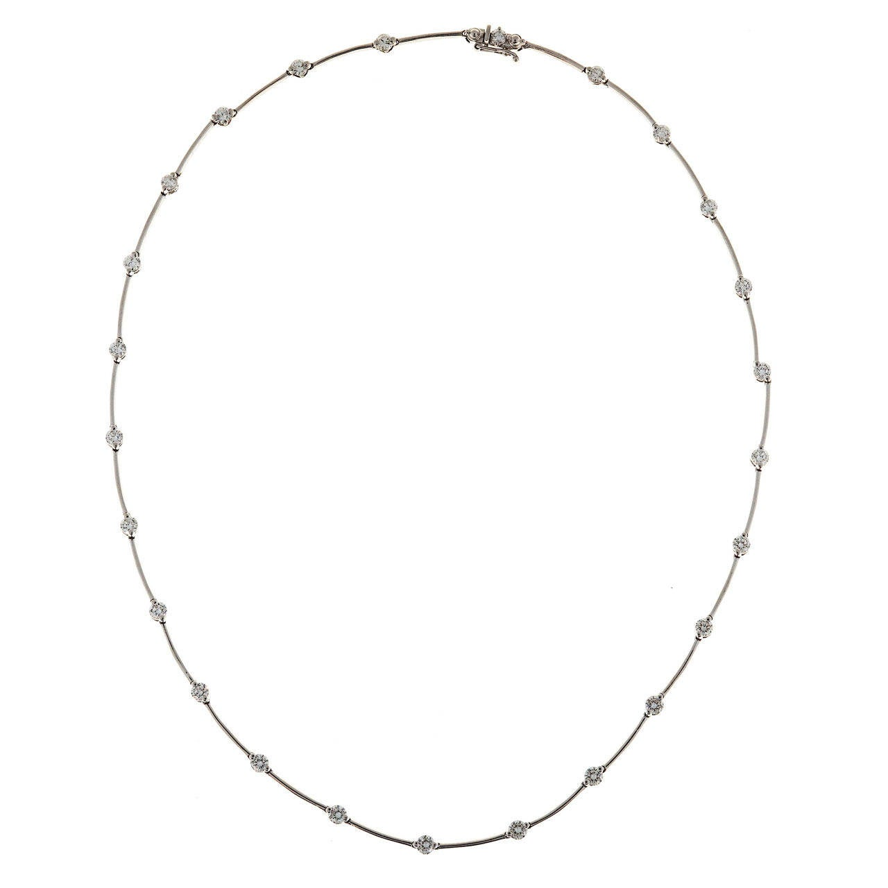 Diamond Platinum Bar And Hinged Necklace Chain