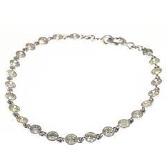 24 Brilliant Full Diamond Platinum Tube Set Bracelet
