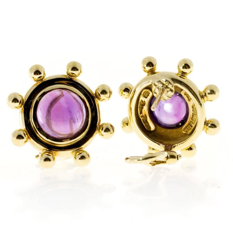 Tiffany & Co. Paloma Picasso Cabochon Amethyst Gold Earrings 3