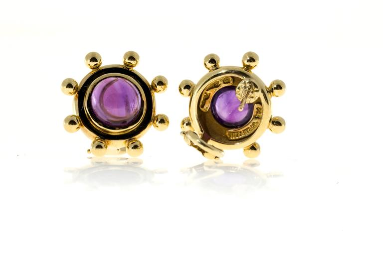 Tiffany & Co. Paloma Picasso Cabochon Amethyst Gold Earrings 6