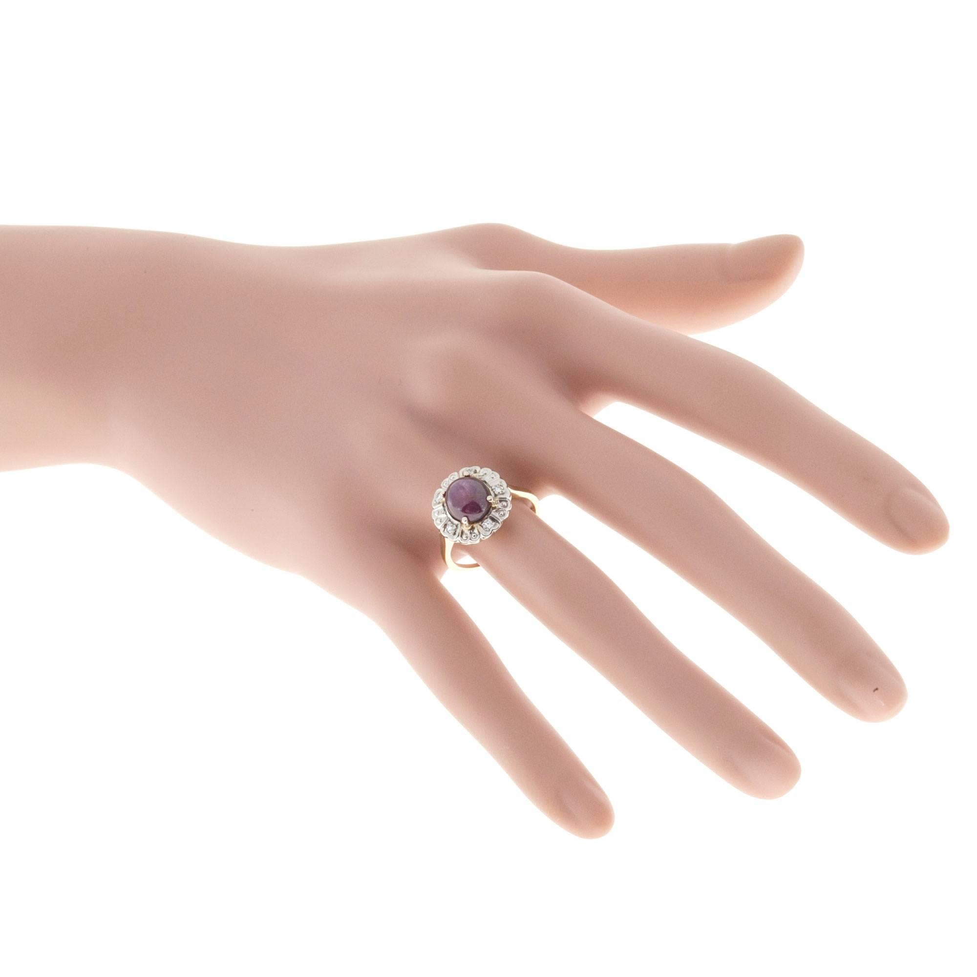 F and F Felger Deep Red Star Ruby Diamond Gold Ring at 1stdibs
