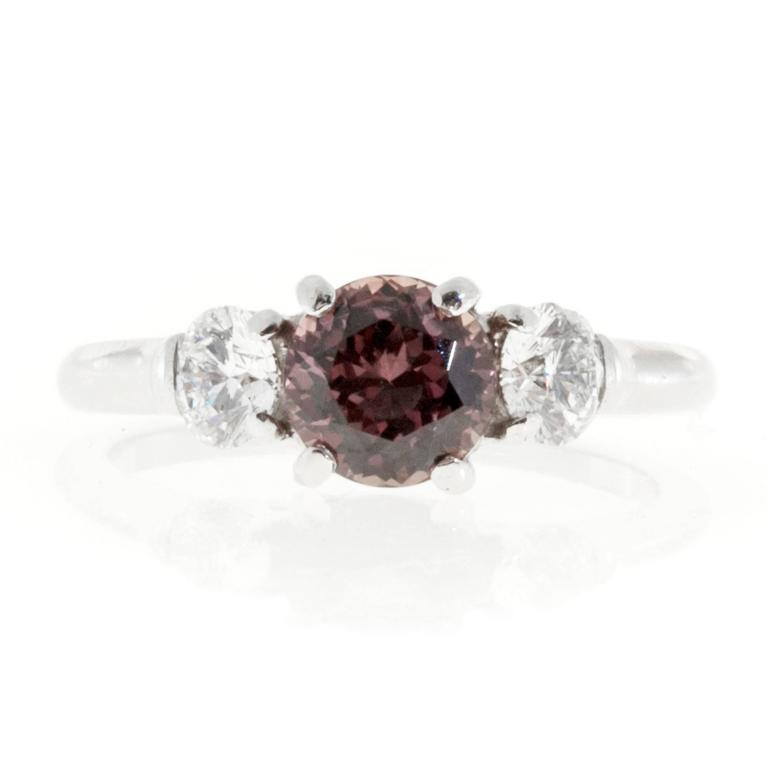 Natural Brown Pink Sapphire Diamond Platinum Engagement Ring 2