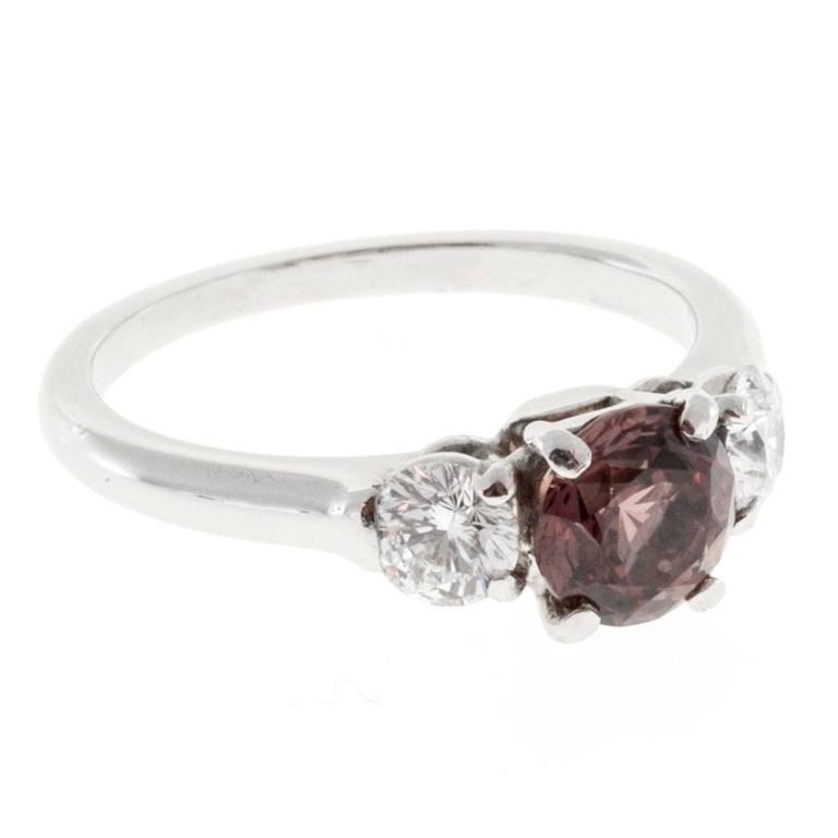 Natural Brown Pink Sapphire Diamond Platinum Engagement Ring 4