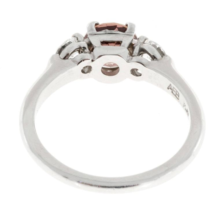 Natural Brown Pink Sapphire Diamond Platinum Engagement Ring 5