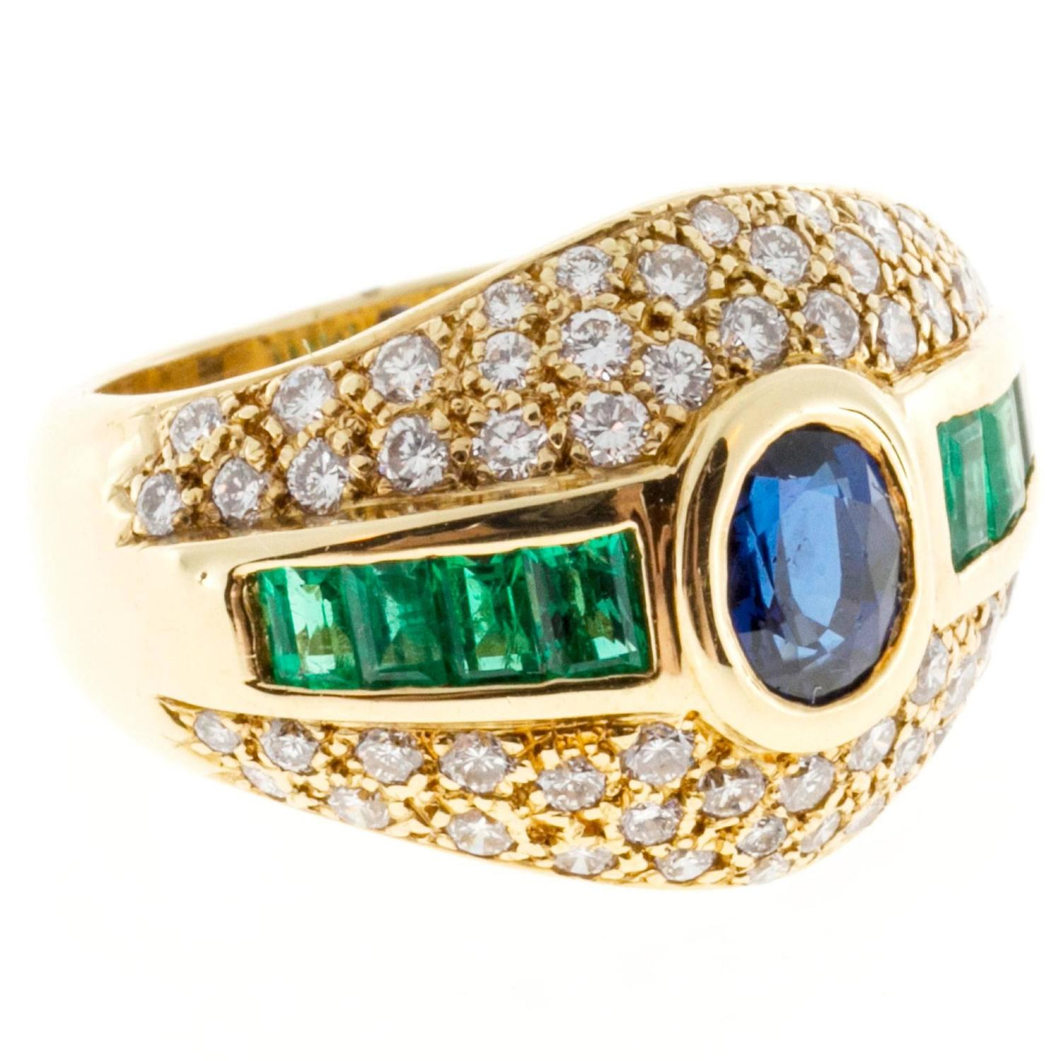 oval sapphire emerald pave gold ring at 1stdibs