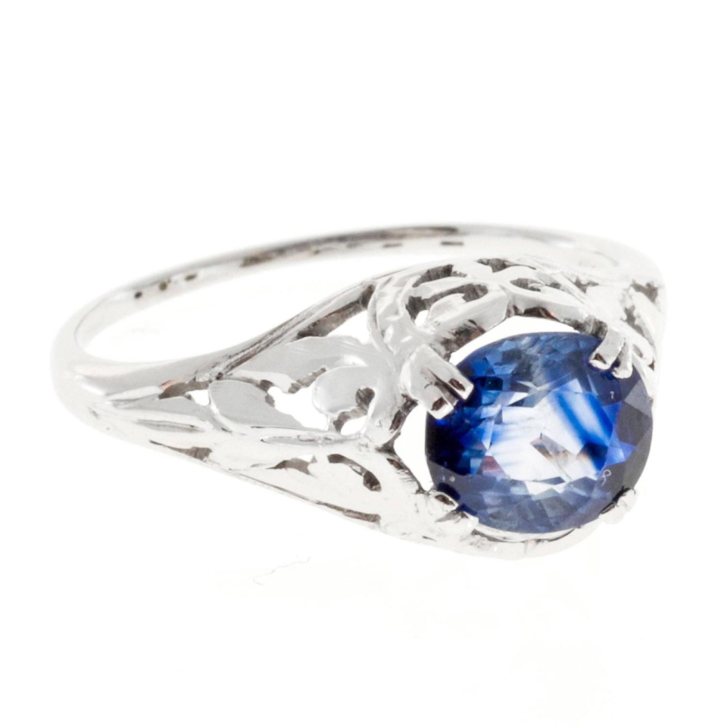 Oval Sapphire Filigree Gold Engagement Ring For Sale at 1stdibs