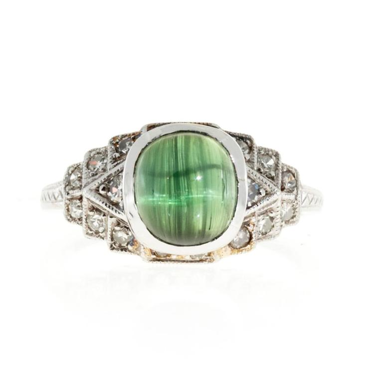 2 10 Carat Oval Green Tourmaline Diamond Platinum