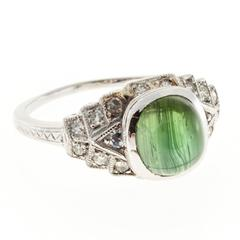 2.10 Carat Oval Green Tourmaline Diamond Platinum Engagement Ring