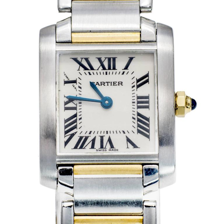 Cartier Lady's Yellow Gold Stainless Steel Tank Francaise Wristwatch