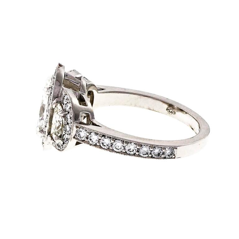 Peter Suchy Oval Diamond Half Moon Triple Halo Platinum Engagement Ring 3