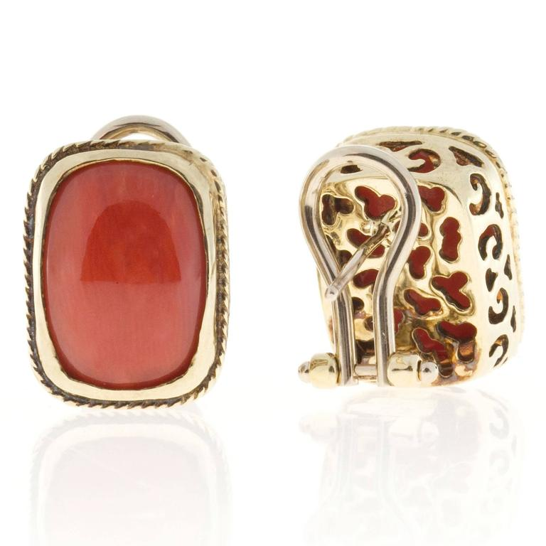 Women's Orange  Coral Italian Gold Clip Post Earrings For Sale