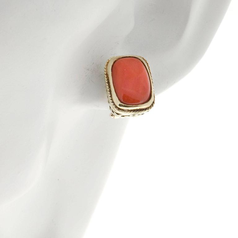 Orange  Coral Italian Gold Clip Post Earrings For Sale 1