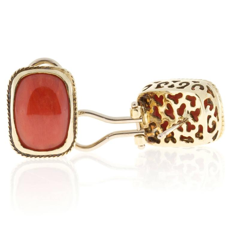 Orange  Coral Italian Gold Clip Post Earrings For Sale 2