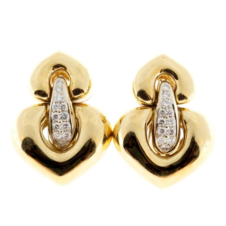 Italian Hinged Diamond Gold Dangle Clip Post Earrings For