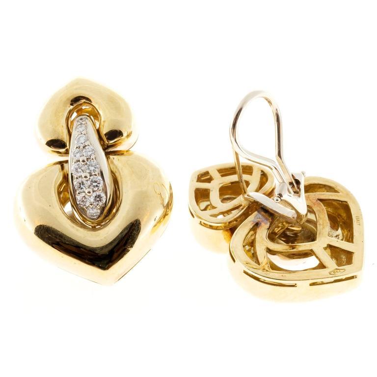 Italian Hinged Diamond Gold Dangle Clip Post Earrings