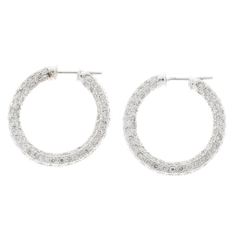 Round Diamond Pave Gold Link Hoop Earrings