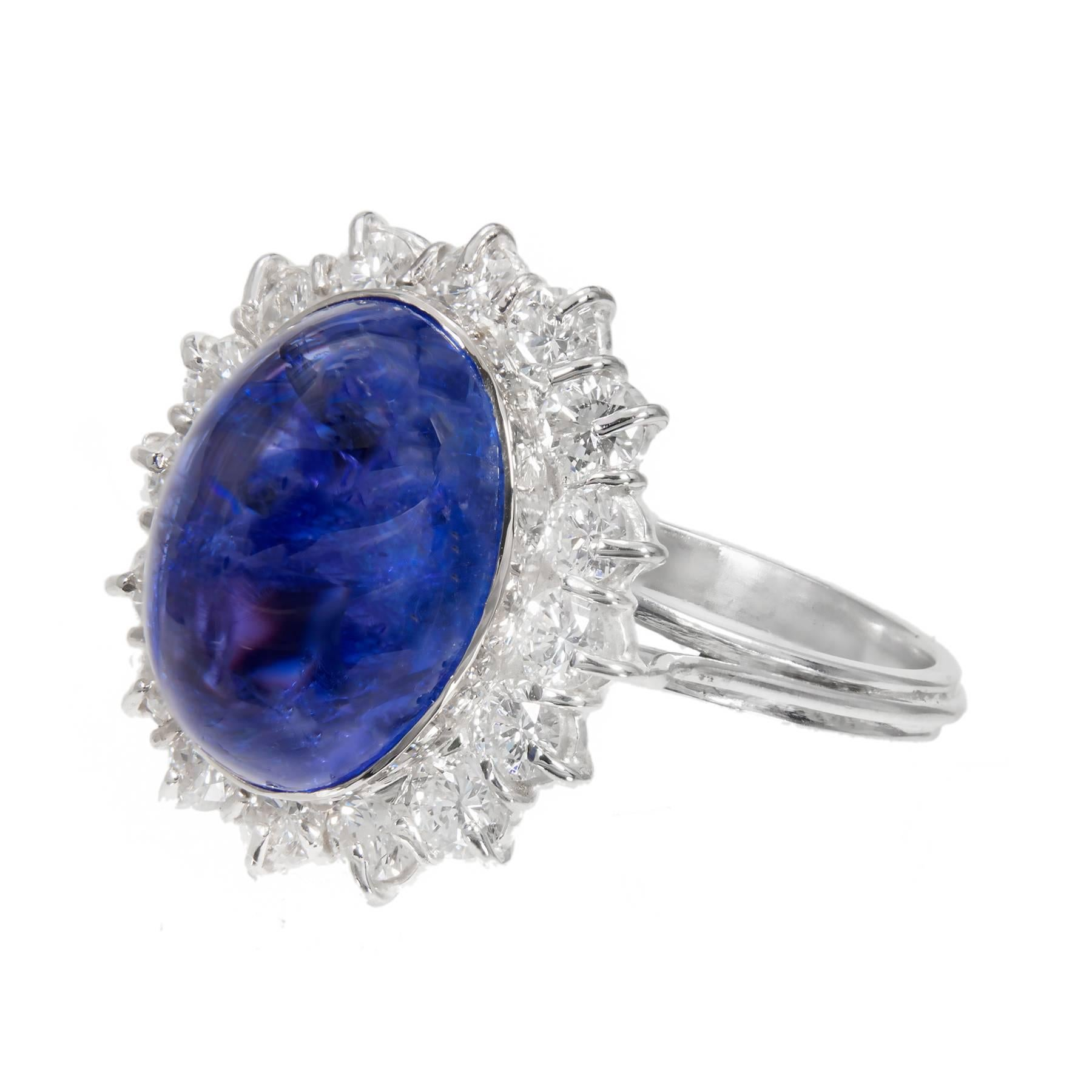 9.75 Carat Tanzanite Cabochon Diamond Halo Gold Engagement Ring