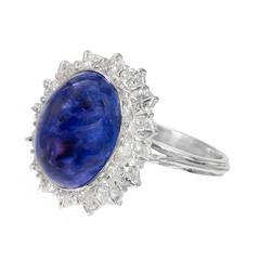 Tanzanite Cabochon Diamond Halo Gold Engagement Ring