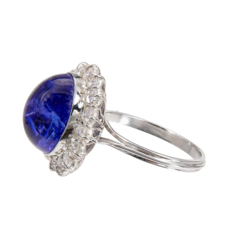 Tanzanite Cabochon Diamond Halo Gold Engagement Ring For Sale 1