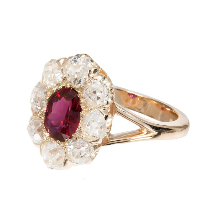 Oval Cut GIA Certified 1.17 Carat Ruby Diamond Halo Gold Engagement Ring For Sale