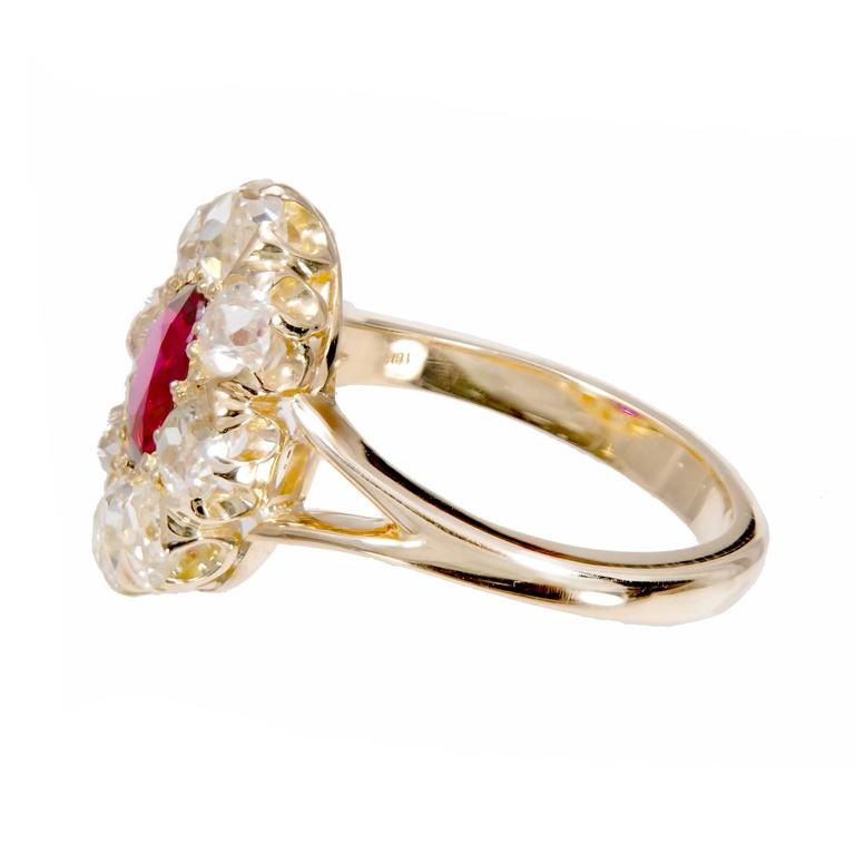 GIA Certified 1.17 Carat Ruby Diamond Halo Gold Engagement Ring In Excellent Condition For Sale In Stamford, CT