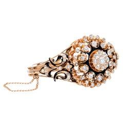 3.25 Carat Rose Cut Diamond Enamel Victorian Gold Bangle Bracelet