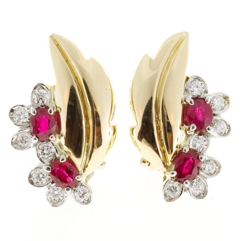 Ruby Diamond Gold Flower Leaf Design Clip Post Earrings For Sale 1