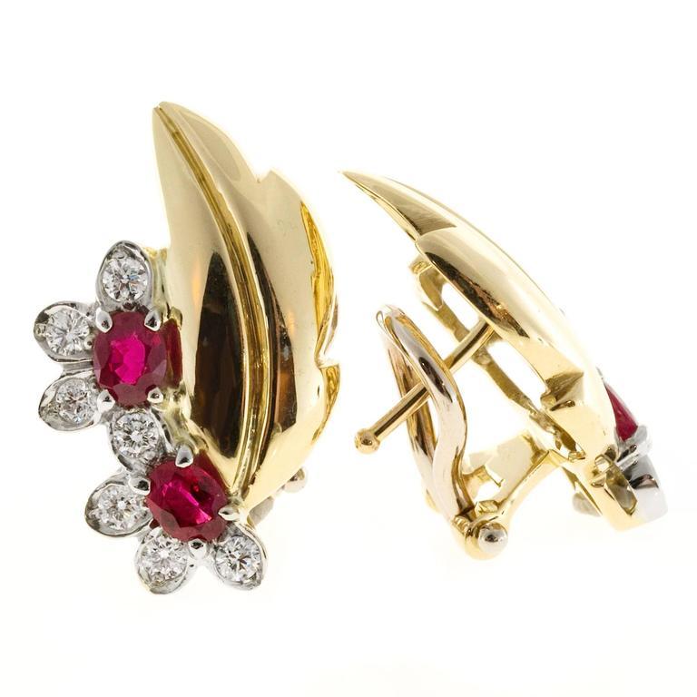 Women's Ruby Diamond Gold Flower Leaf Design Clip Post Earrings For Sale