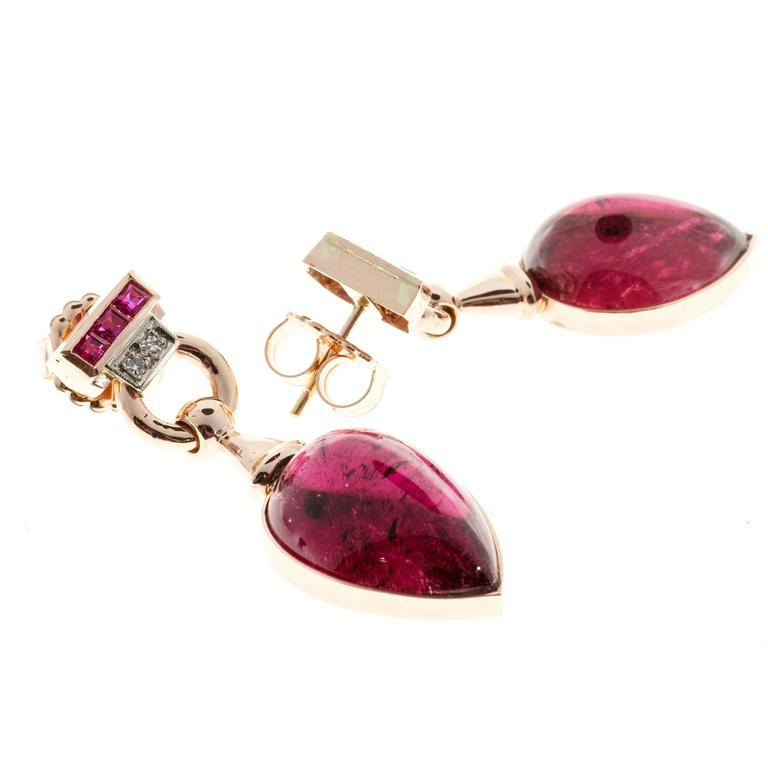 Red Tourmaline Cabochon Pear Ruby Diamond Gold Dangle Earrings 2