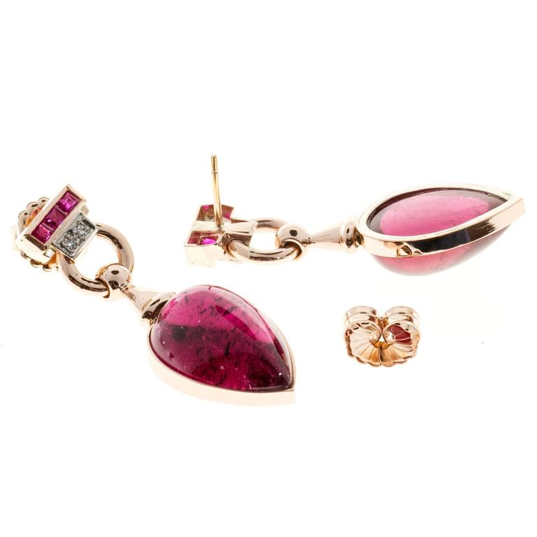 Red Tourmaline Cabochon Pear Ruby Diamond Gold Dangle Earrings 3