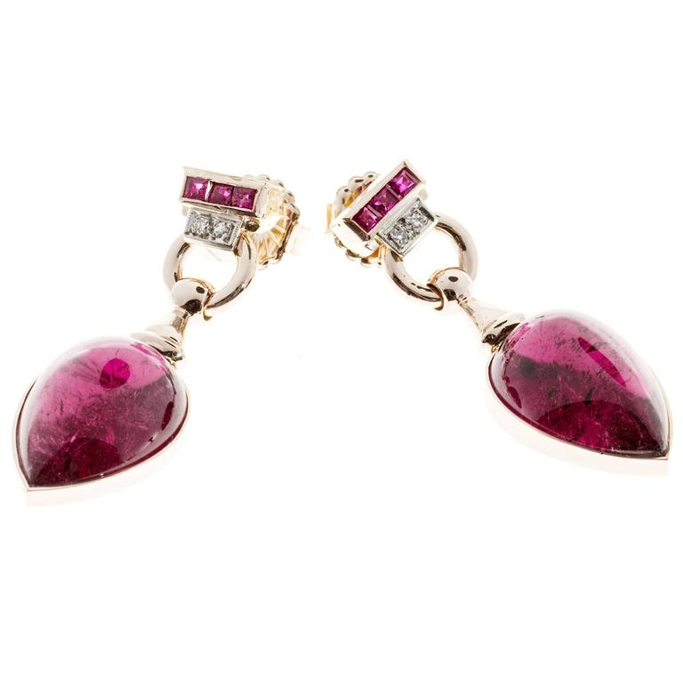 Red Tourmaline Cabochon Pear Ruby Diamond Gold Dangle Earrings 7