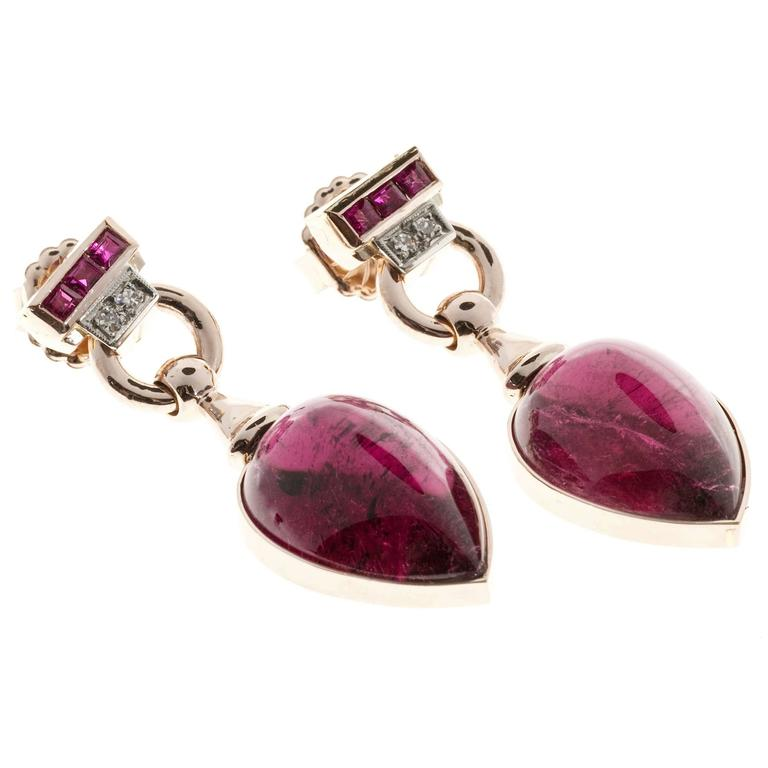 Red Tourmaline Cabochon Pear Ruby Diamond Gold Dangle Earrings 6