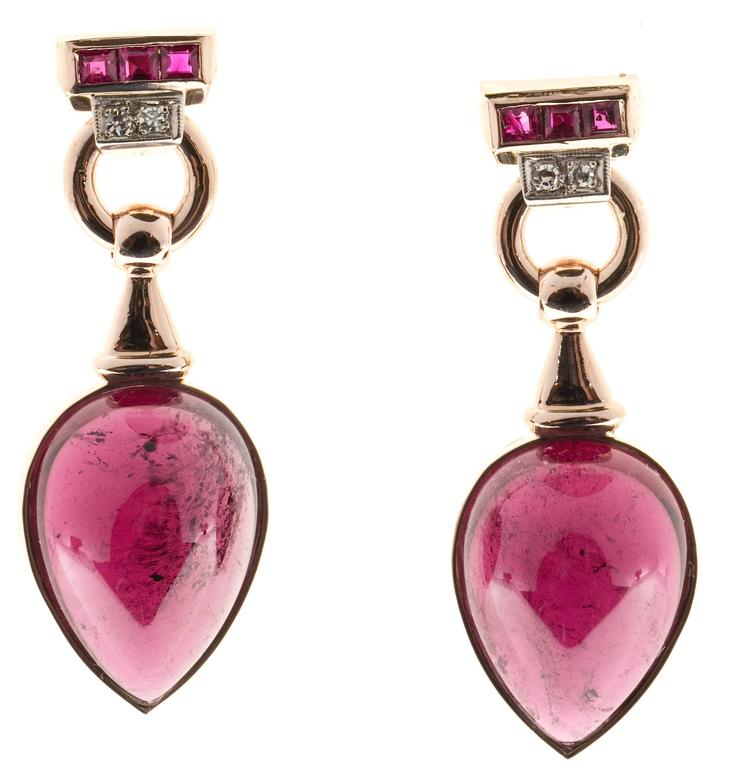 Red Tourmaline Cabochon Pear Ruby Diamond Gold Dangle Earrings 8
