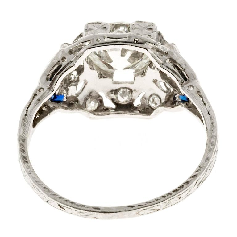sapphire engraved platinum ring for sale