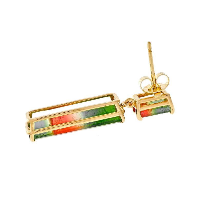 Peter Suchy Tourmaline Gold Dangle Earrings  3