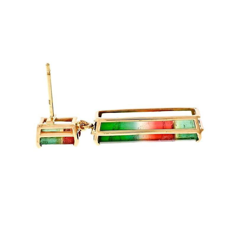 Peter Suchy Tourmaline Gold Dangle Earrings  2